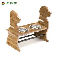 Cute design dog shape Bamboo wood natural material dog Adjustable Drinking Fountains dog Bowls Feede